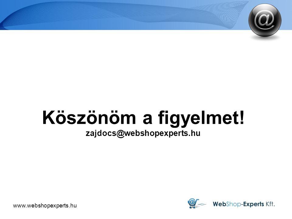 Köszönöm a figyelmet! zajdocs@webshopexperts.hu 9