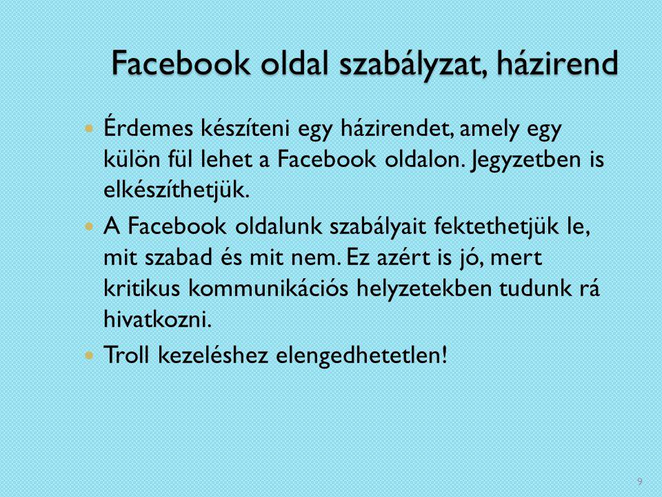Facebook oldal szabályzat, házirend