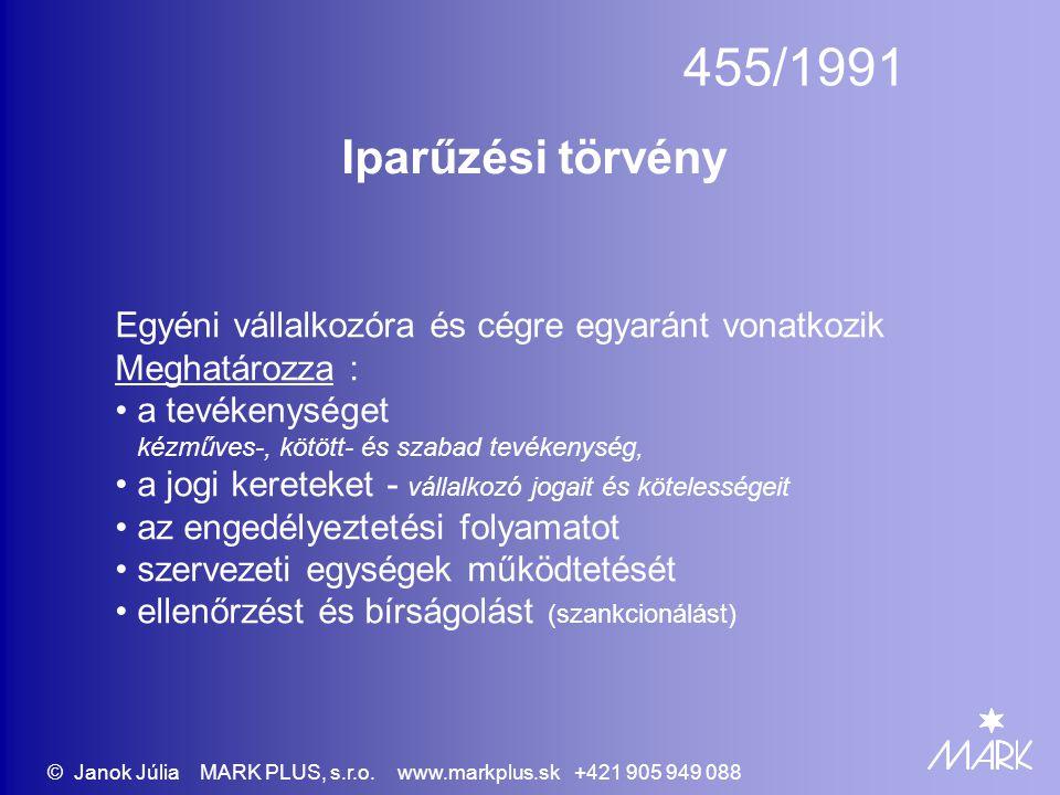 © Janok Júlia MARK PLUS, s.r.o. www.markplus.sk +421 905 949 088