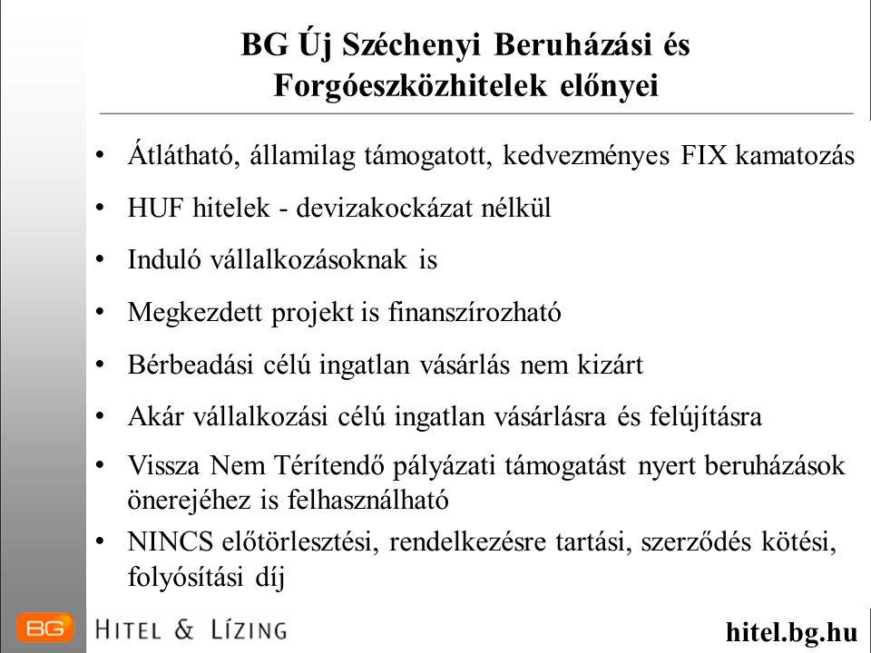 BG Új Széchenyi Beruházási és Forgóeszközhitelek előnyei
