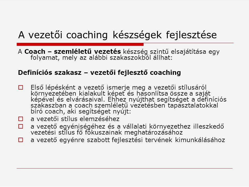 A vezetői coaching készségek fejlesztése