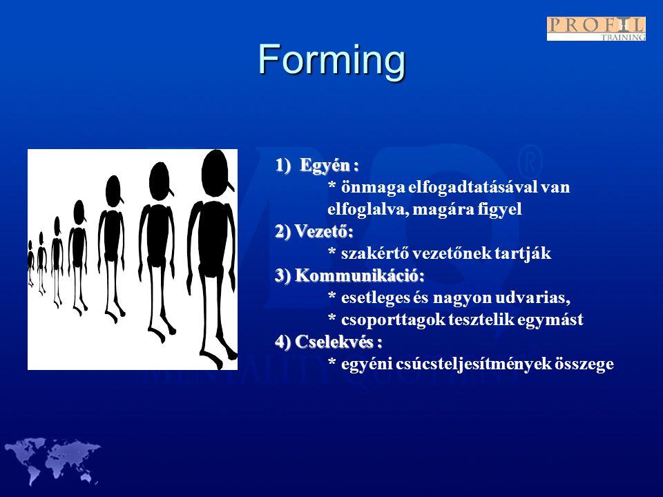 Forming 1) Egyén : * önmaga elfogadtatásával van elfoglalva, magára figyel. 2) Vezető: * szakértő vezetőnek tartják.