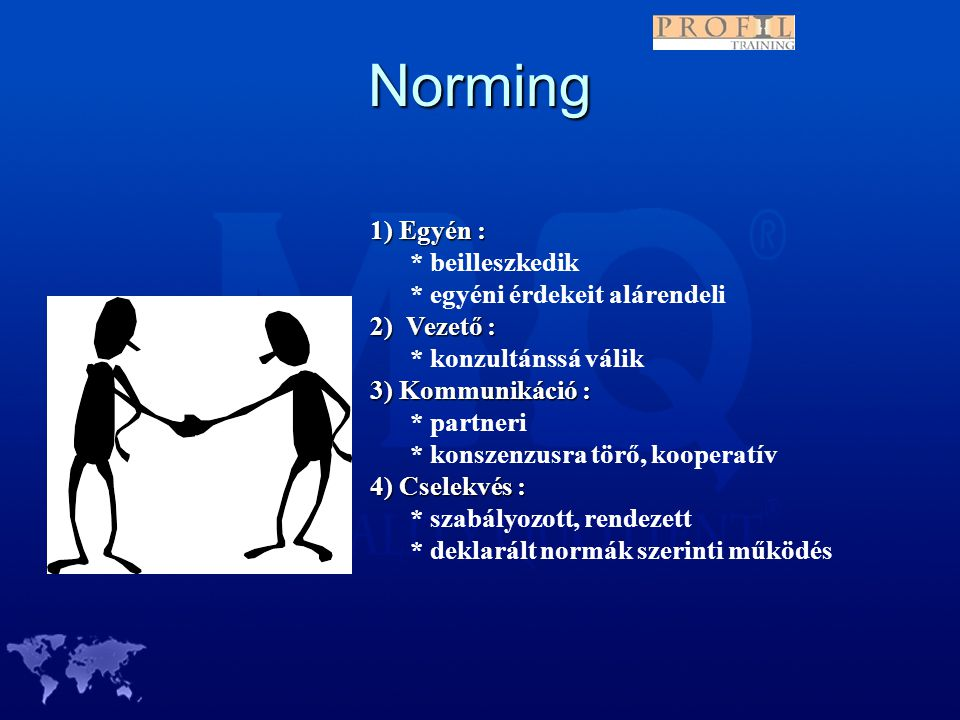 Norming 1) Egyén : * beilleszkedik * egyéni érdekeit alárendeli