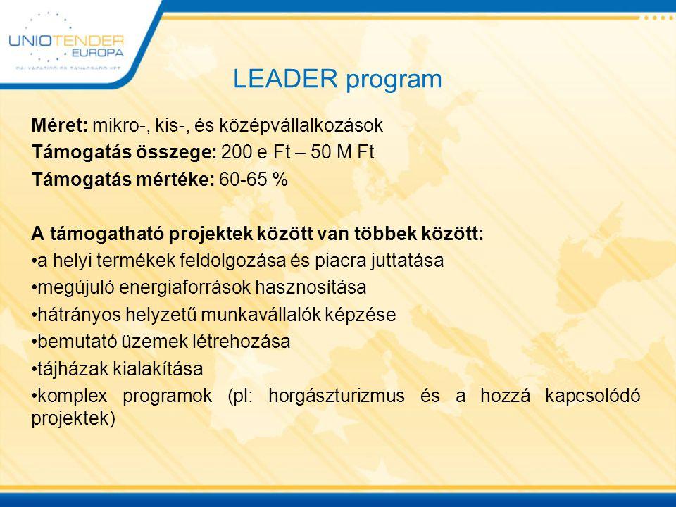 LEADER program Méret: mikro-, kis-, és középvállalkozások
