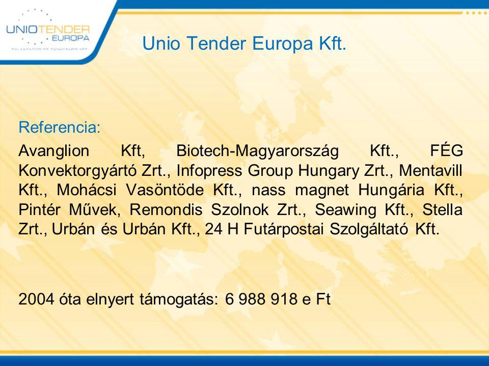 Unio Tender Europa Kft. Referencia: