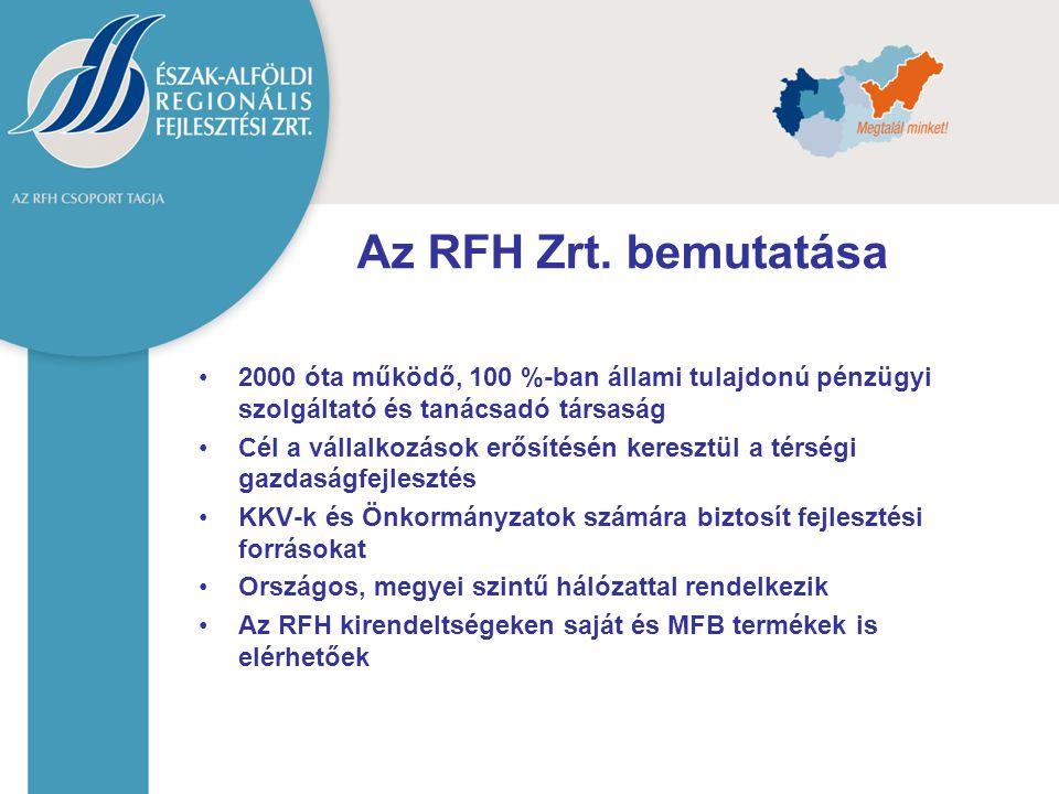 Az RFH Zrt. bemutatása 2000 óta működő, 100 %-ban állami tulajdonú pénzügyi szolgáltató és tanácsadó társaság.