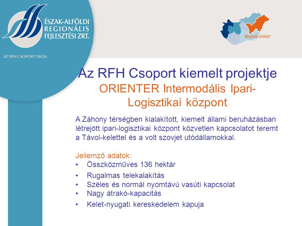 Az RFH Csoport kiemelt projektje ORIENTER Intermodális Ipari-Logisztikai központ