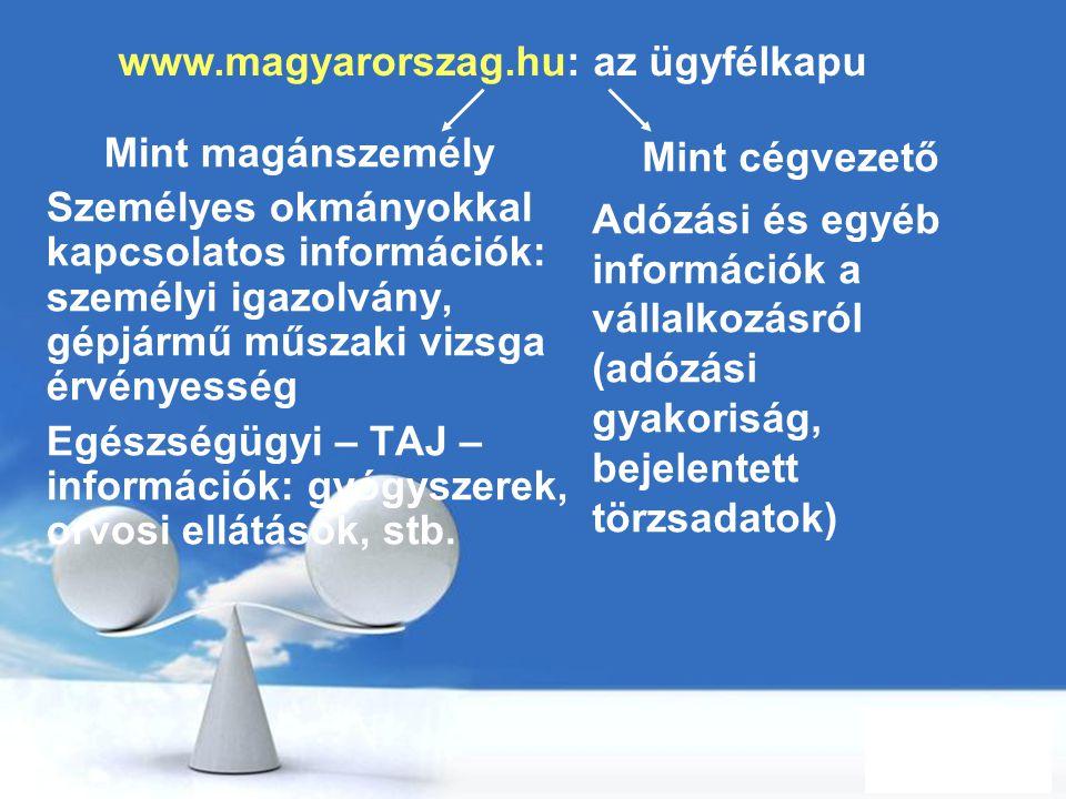 www.magyarorszag.hu: az ügyfélkapu