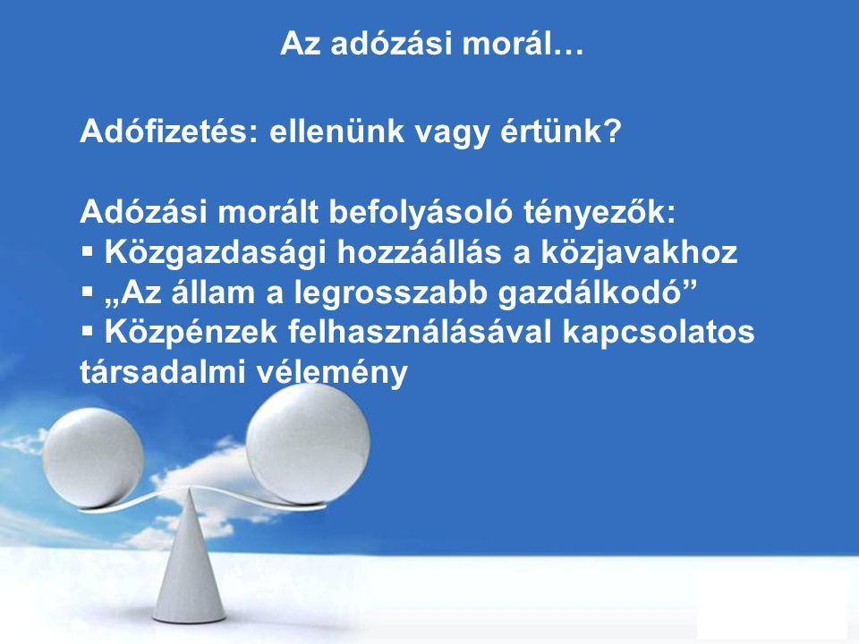 Az adózási morál… Adófizetés: ellenünk vagy értünk Adózási morált befolyásoló tényezők: Közgazdasági hozzáállás a közjavakhoz.
