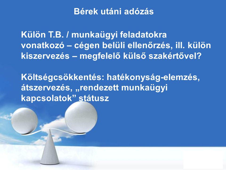 Bérek utáni adózás Külön T.B. / munkaügyi feladatokra vonatkozó – cégen belüli ellenőrzés, ill. külön kiszervezés – megfelelő külső szakértővel