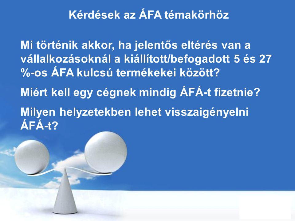 Kérdések az ÁFA témakörhöz