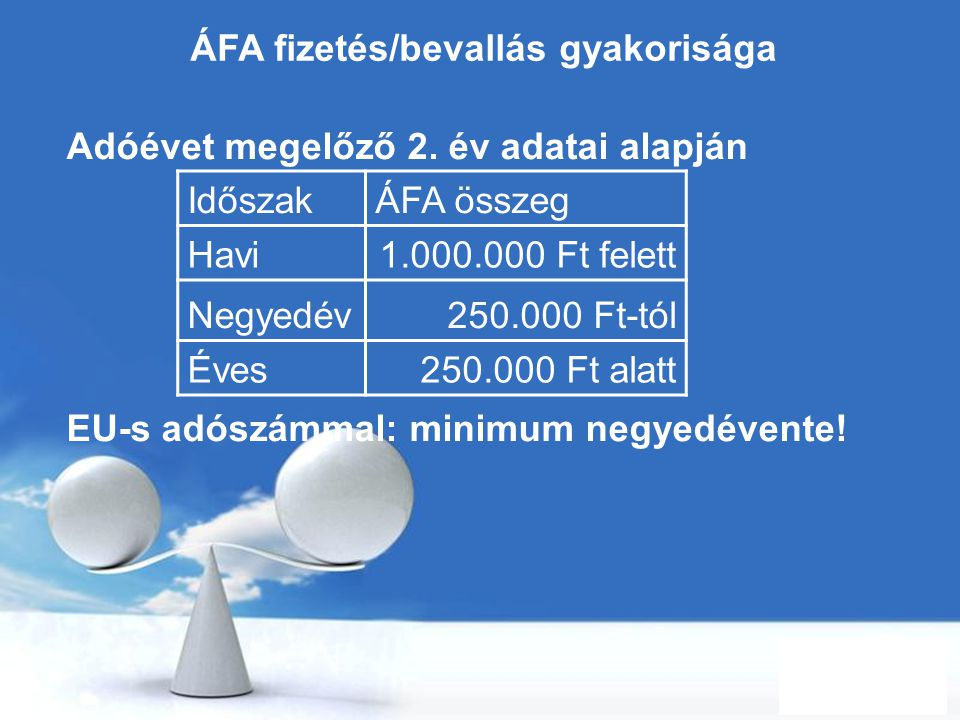 ÁFA fizetés/bevallás gyakorisága