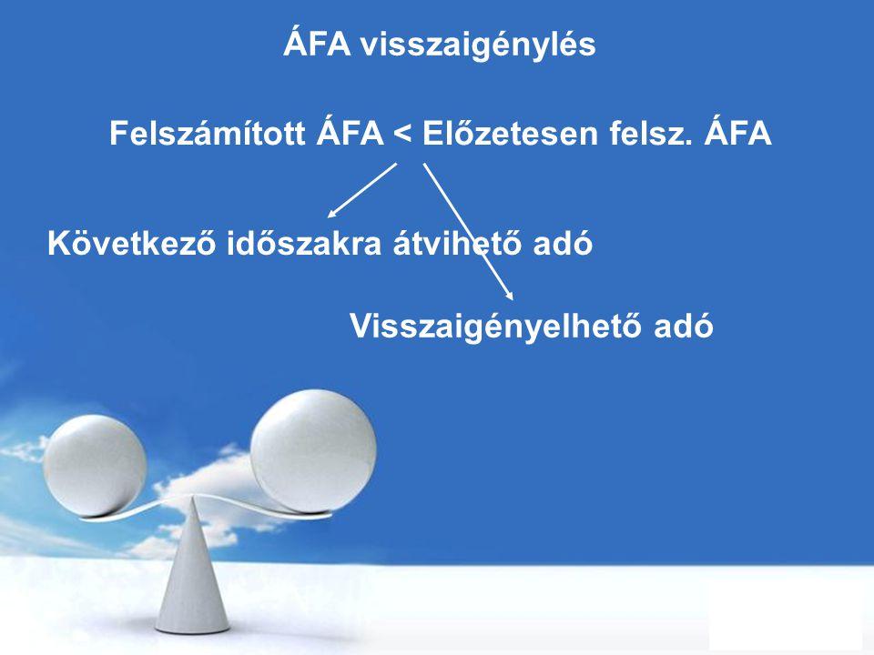Felszámított ÁFA < Előzetesen felsz. ÁFA