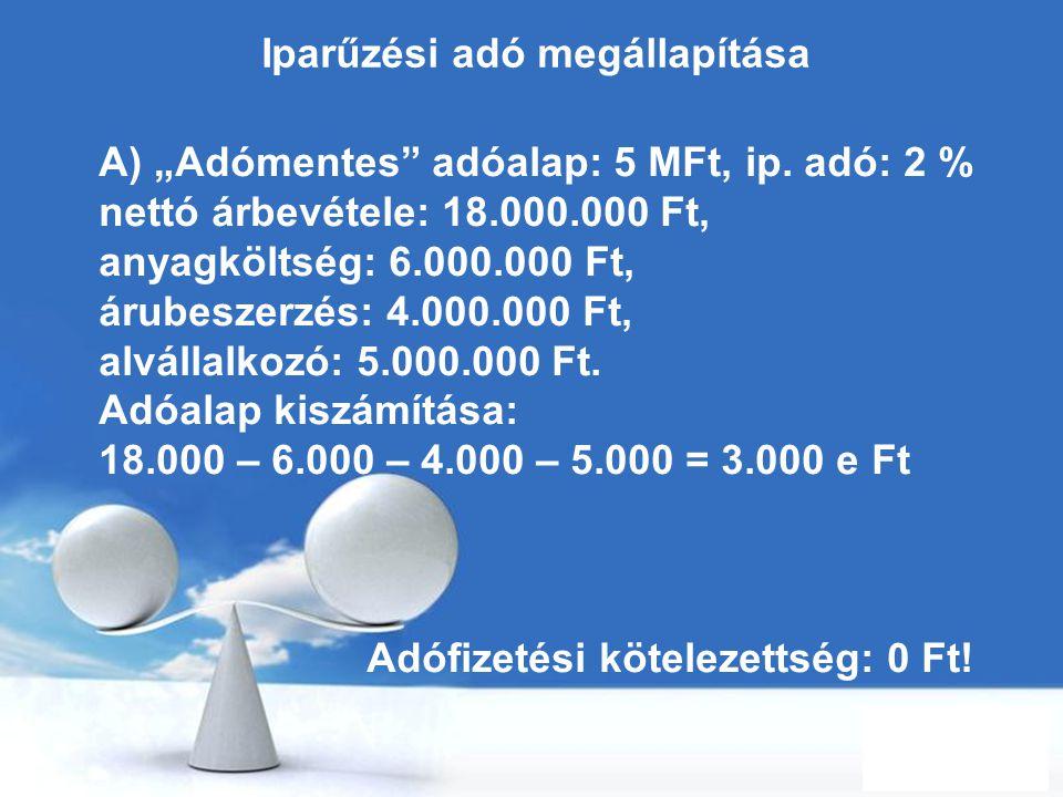 Iparűzési adó megállapítása