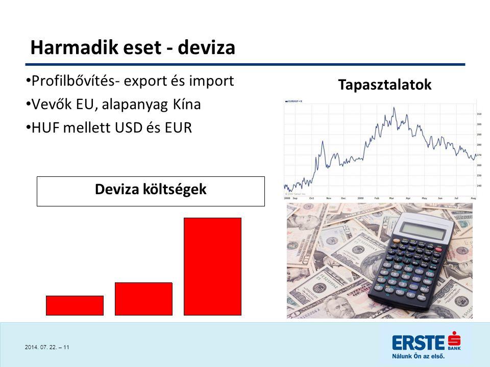 Harmadik eset - deviza Profilbővítés- export és import Tapasztalatok