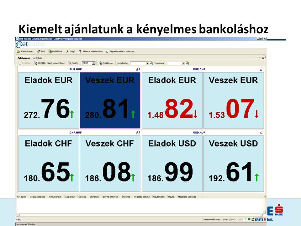 Kiemelt ajánlatunk a kényelmes bankoláshoz