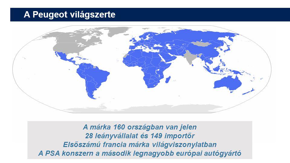 A Peugeot világszerte A márka 160 országban van jelen