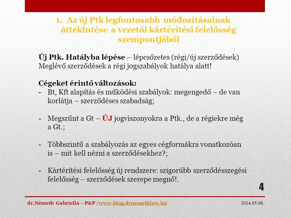 Az új Ptk legfontosabb módosításainak áttekintése a vezetői kártérítési felelősség szempontjából