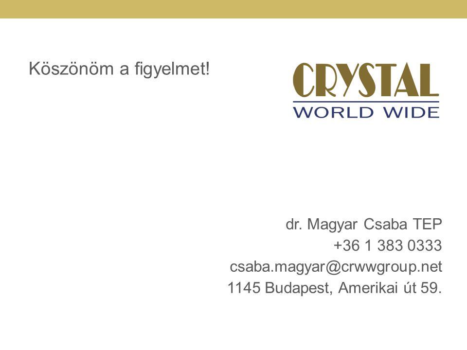 Köszönöm a figyelmet! dr. Magyar Csaba TEP +36 1 383 0333