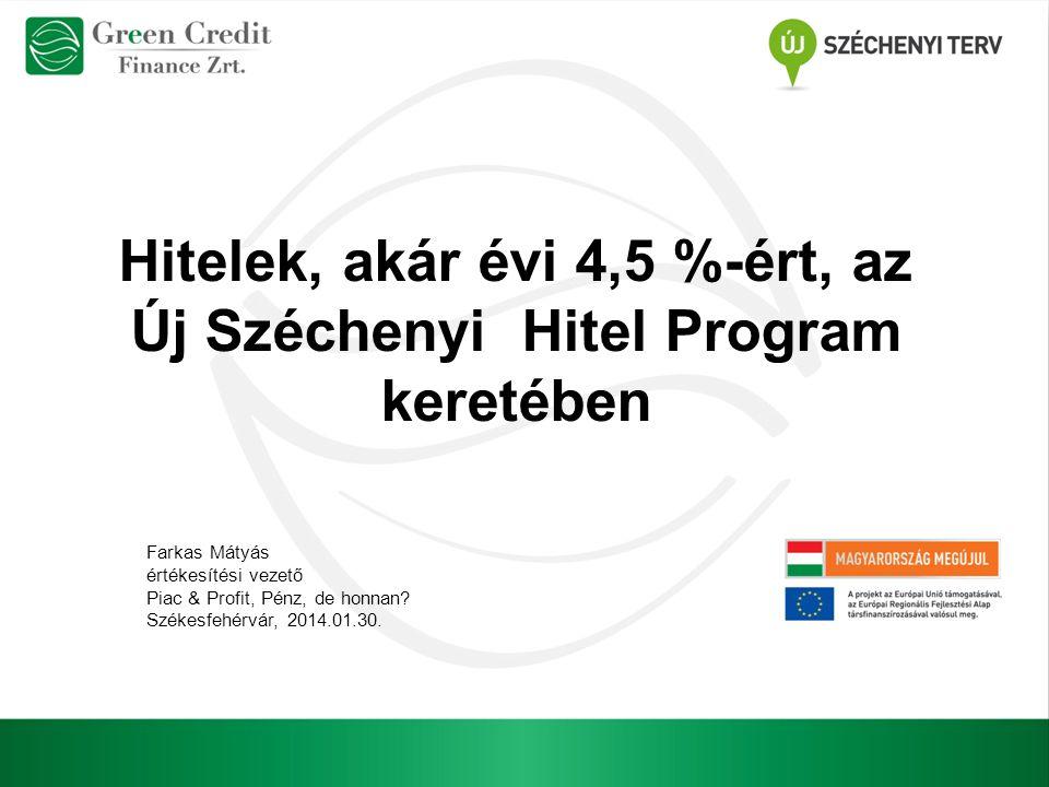 Hitelek, akár évi 4,5 %-ért, az Új Széchenyi Hitel Program keretében