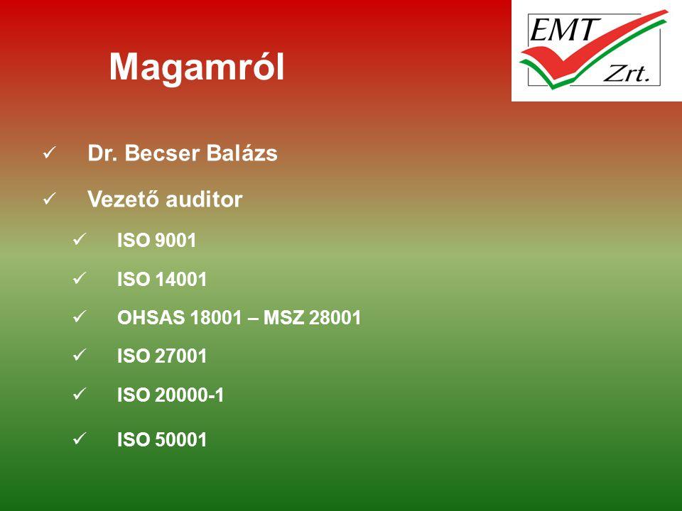 Magamról Dr. Becser Balázs Vezető auditor ISO 9001 ISO 14001