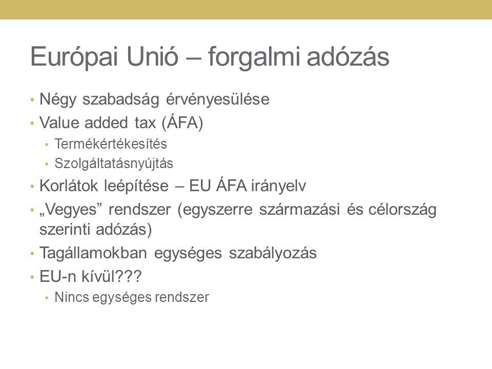 Európai Unió – forgalmi adózás