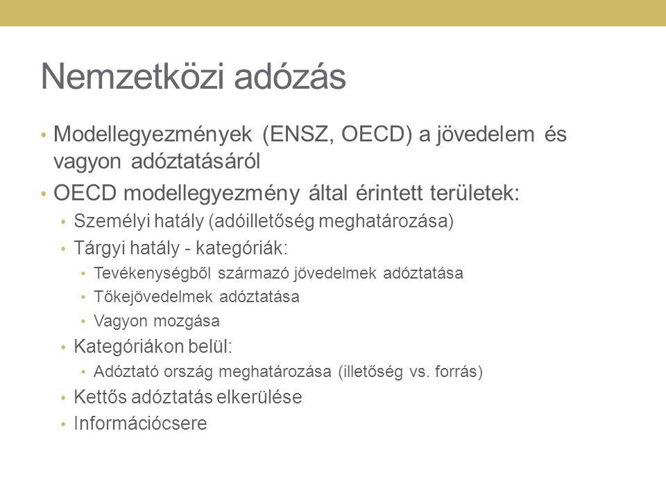 Nemzetközi adózás Modellegyezmények (ENSZ, OECD) a jövedelem és vagyon adóztatásáról. OECD modellegyezmény által érintett területek:
