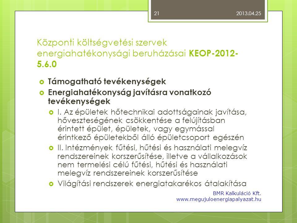 2013.04.25 Központi költségvetési szervek energiahatékonysági beruházásai KEOP-2012-5.6.0. Támogatható tevékenységek.