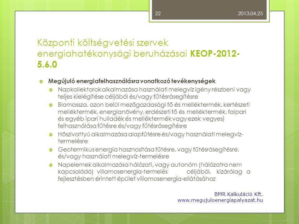 2013.04.25 Központi költségvetési szervek energiahatékonysági beruházásai KEOP-2012-5.6.0. Megújuló energiafelhasználásra vonatkozó tevékenységek.