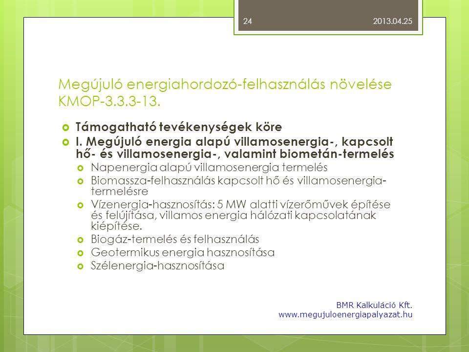 Megújuló energiahordozó-felhasználás növelése KMOP-3.3.3-13.