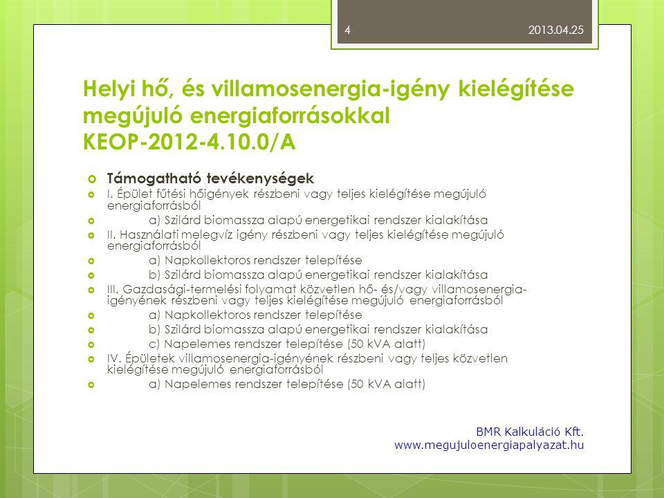 2013.04.25 Helyi hő, és villamosenergia-igény kielégítése megújuló energiaforrásokkal KEOP-2012-4.10.0/A.