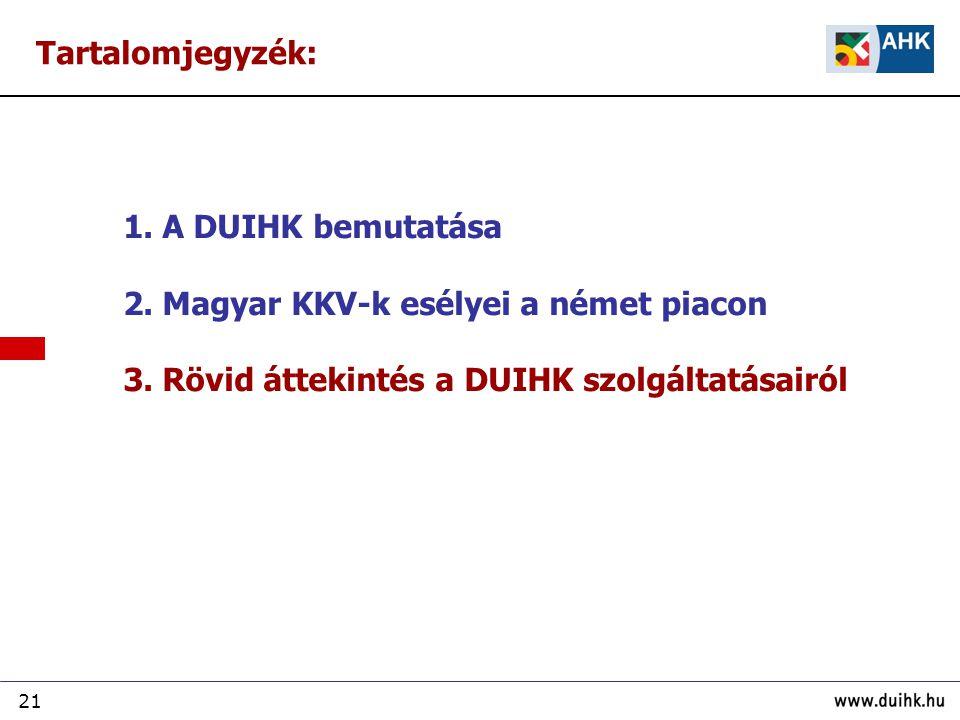 Tartalomjegyzék: 1. A DUIHK bemutatása. 2. Magyar KKV-k esélyei a német piacon.