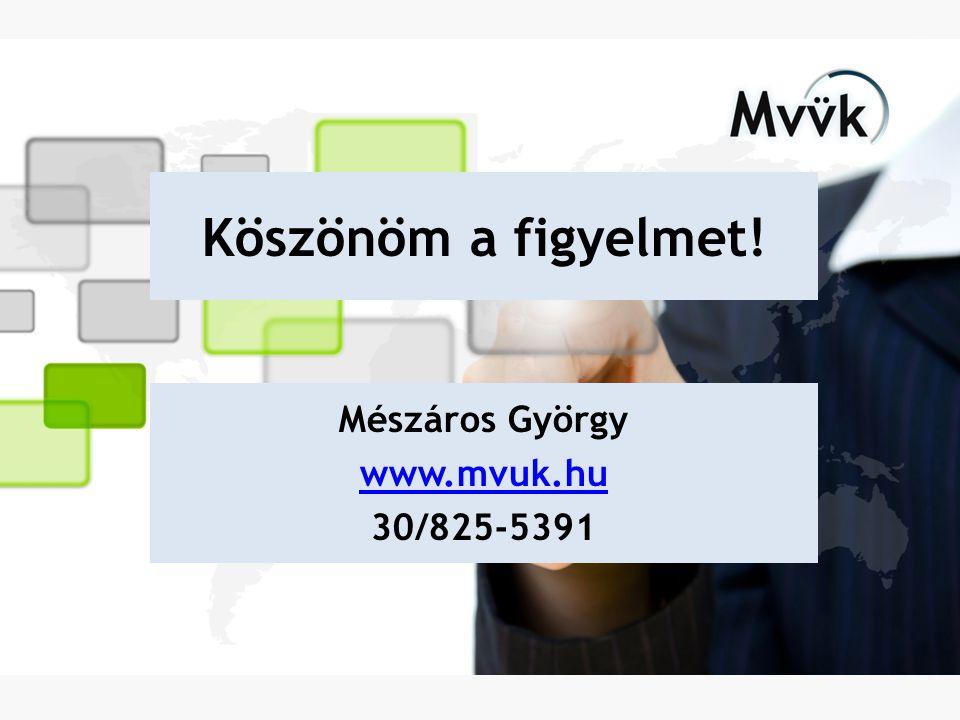 Köszönöm a figyelmet! Mészáros György www.mvuk.hu 30/825-5391