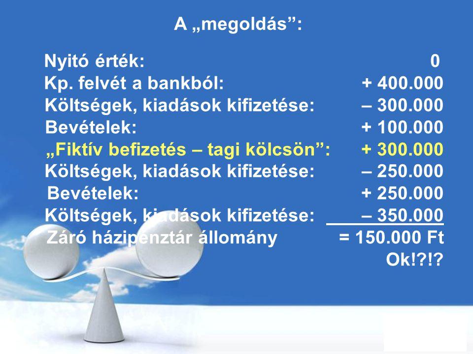 """A """"megoldás : Nyitó érték: 0. Kp. felvét a bankból: + 400.000."""