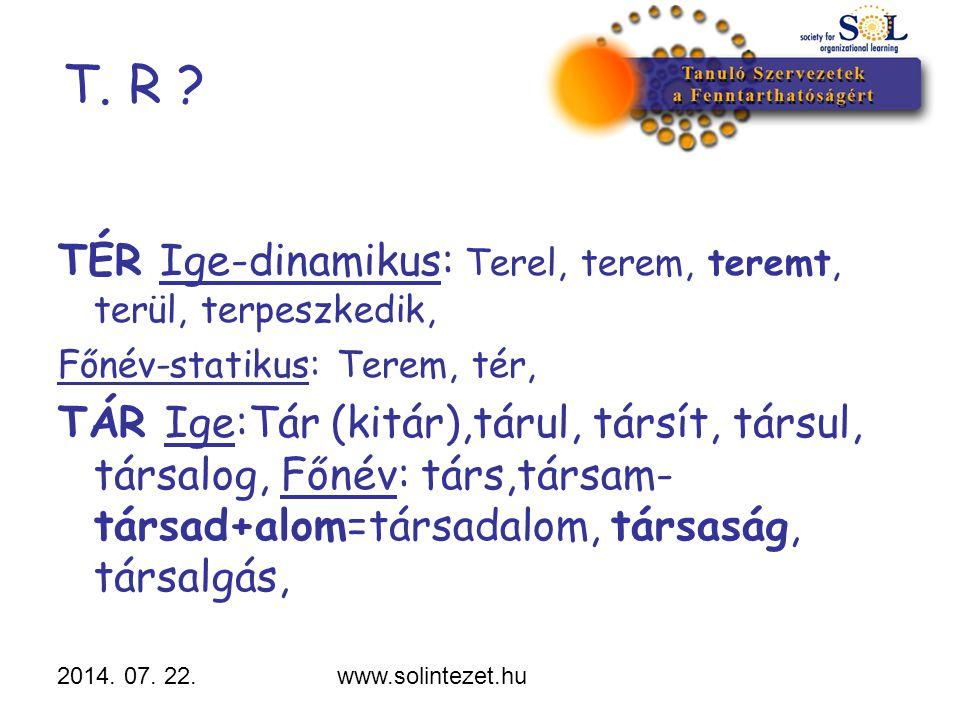 T. R TÉR Ige-dinamikus: Terel, terem, teremt, terül, terpeszkedik,
