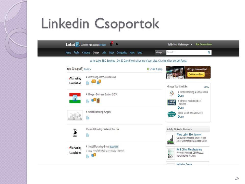 Linkedin Csoportok