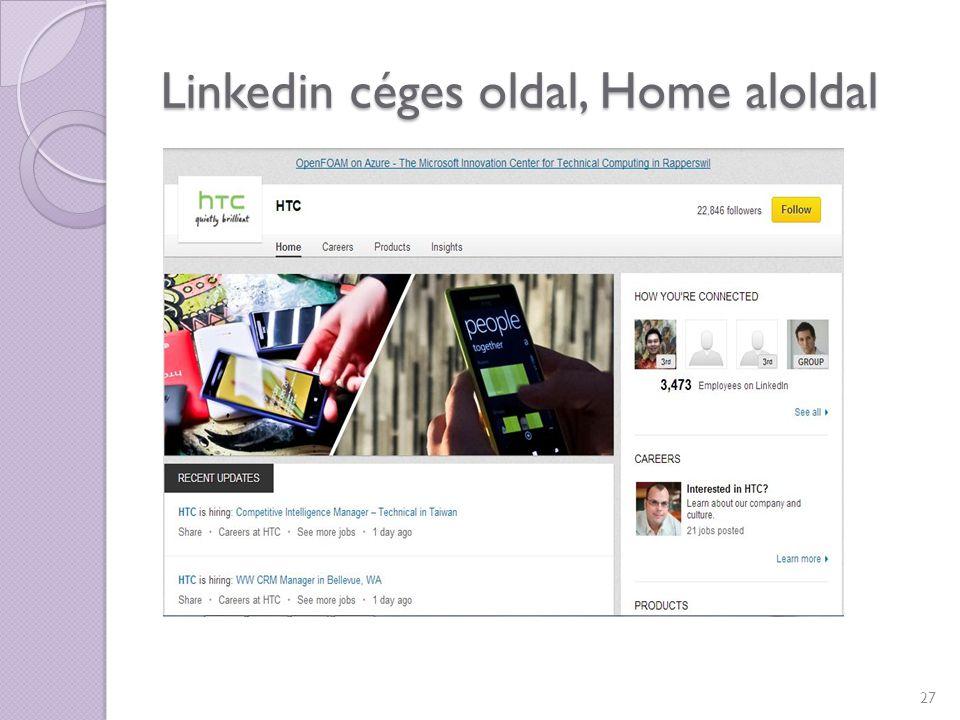 Linkedin céges oldal, Home aloldal