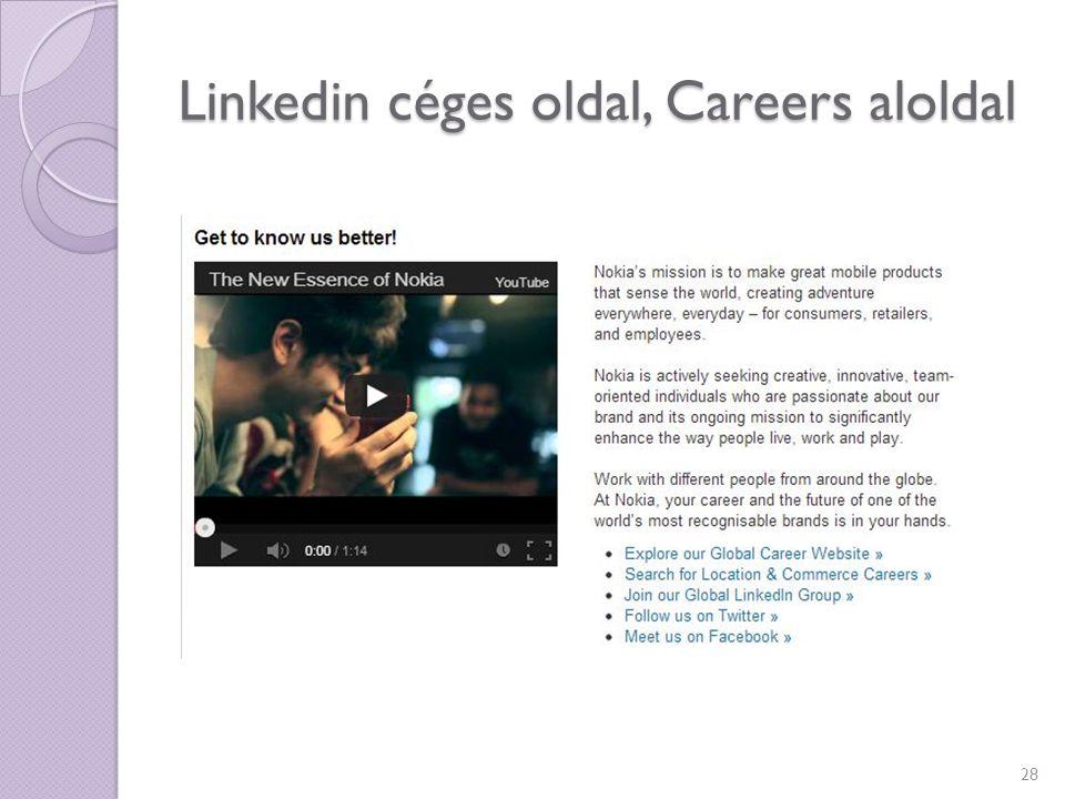 Linkedin céges oldal, Careers aloldal