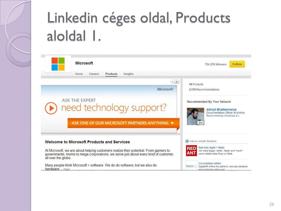 Linkedin céges oldal, Products aloldal 1.