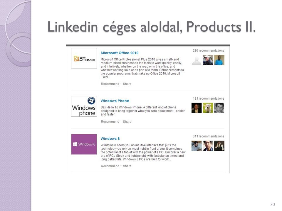 Linkedin céges aloldal, Products II.