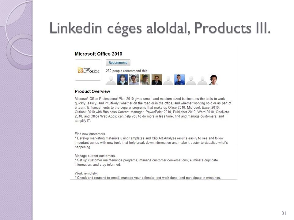 Linkedin céges aloldal, Products III.