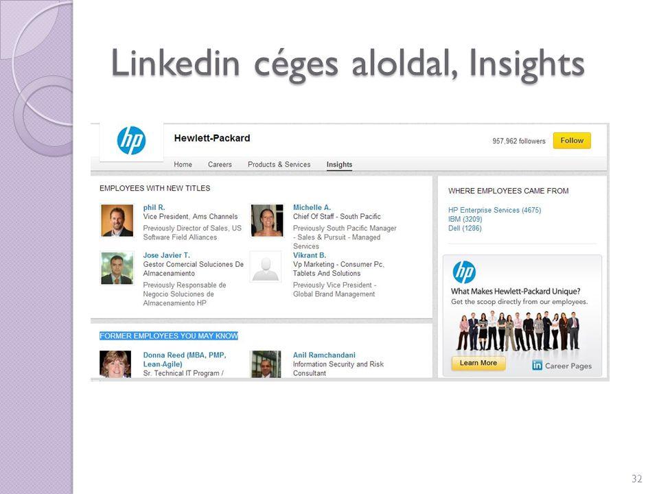 Linkedin céges aloldal, Insights