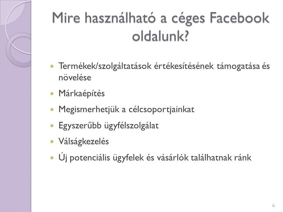 Mire használható a céges Facebook oldalunk