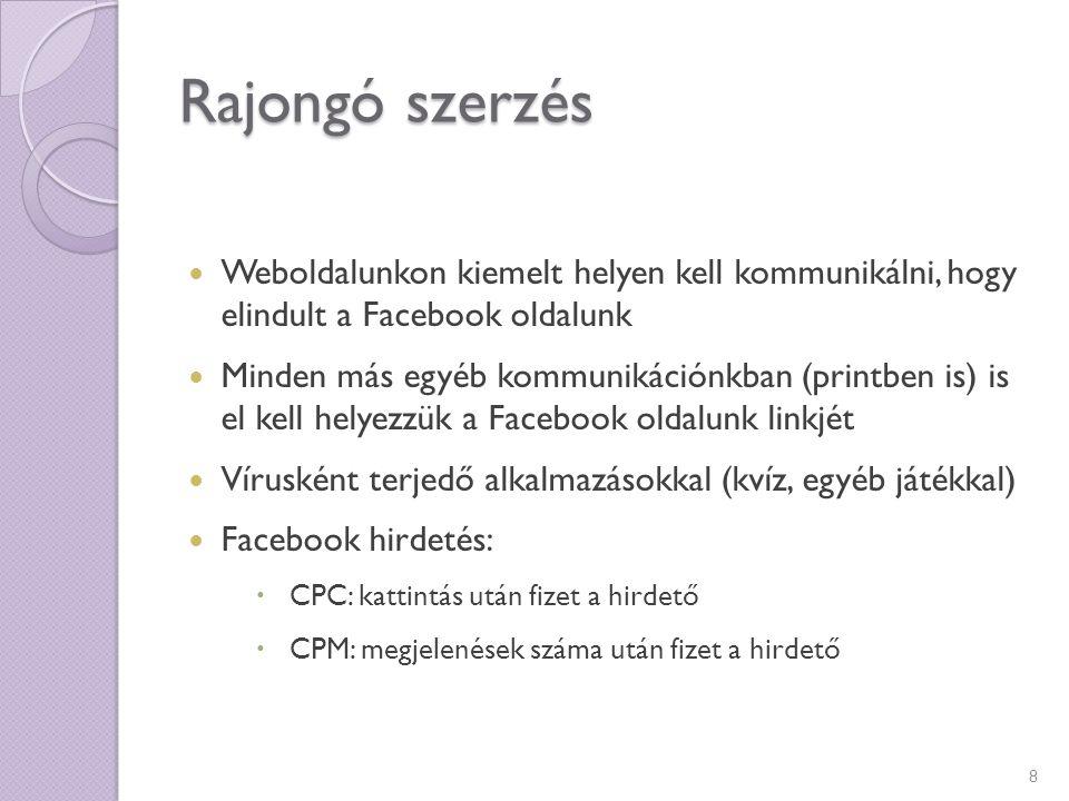 Rajongó szerzés Weboldalunkon kiemelt helyen kell kommunikálni, hogy elindult a Facebook oldalunk.