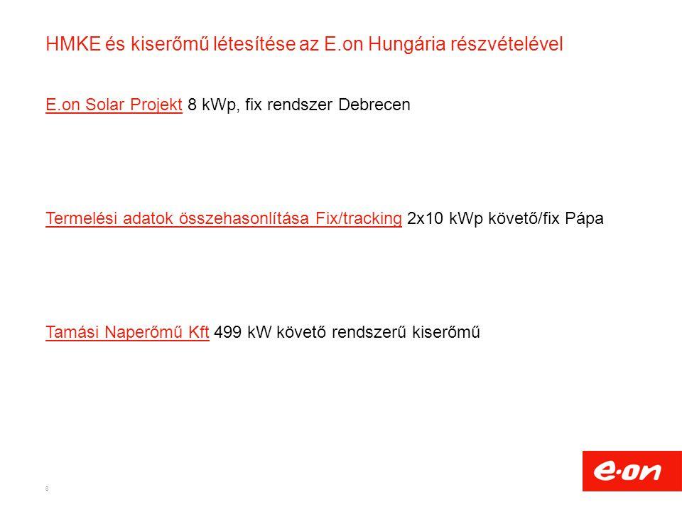 HMKE és kiserőmű létesítése az E.on Hungária részvételével