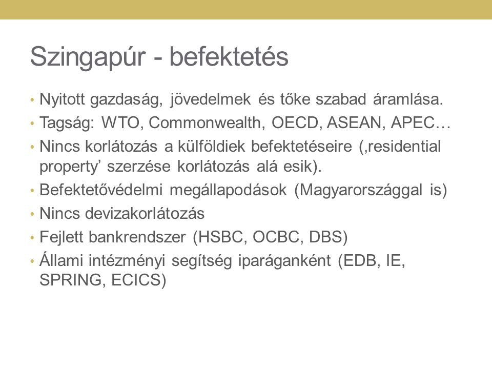 Szingapúr - befektetés