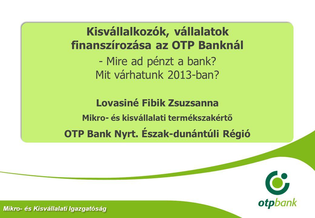 Kisvállalkozók, vállalatok finanszírozása az OTP Banknál