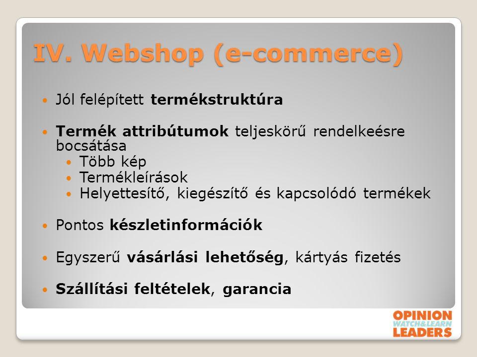 IV. Webshop (e-commerce)