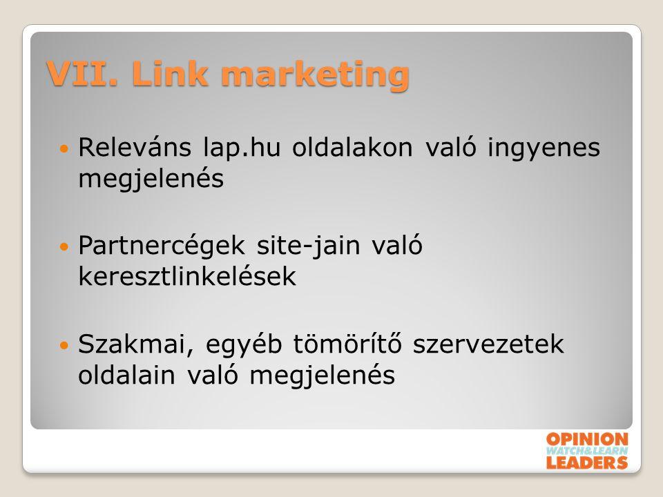 VII. Link marketing Releváns lap.hu oldalakon való ingyenes megjelenés