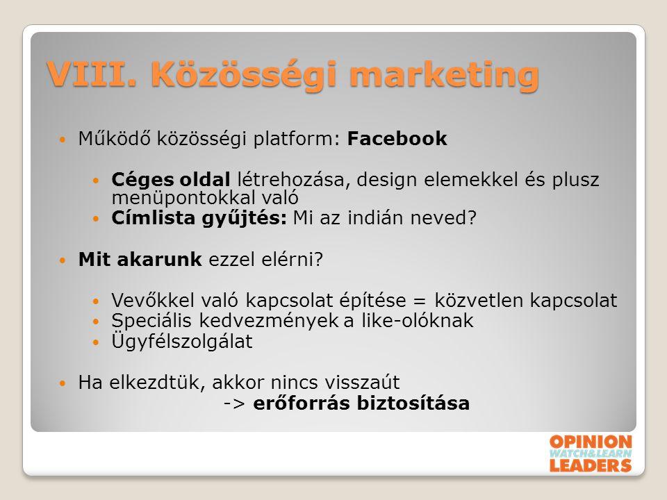 VIII. Közösségi marketing